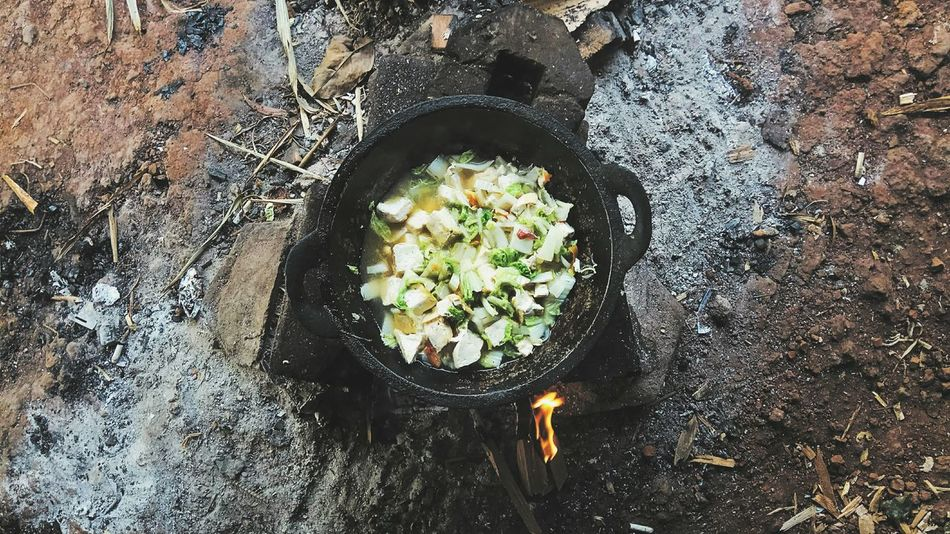 Appetizing. High Angle View Outdoors Close-up Leisure Activity Cooking Outdoors Woodfired Soup Vegetarian Food Vegetables