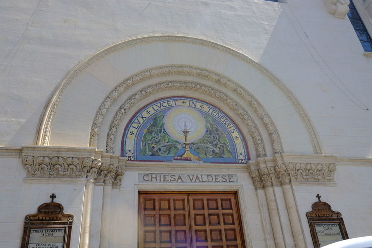 Rome, Italy - August 11, 2017: Entrance of the Waldensian Evangelical Church (Chiesa Evangelica Valdese, CEV) in Cavour square Architecture Church Faith Protestant Apostolic Cult Protestan Protestantism Religion Religious  Theology Waldensian