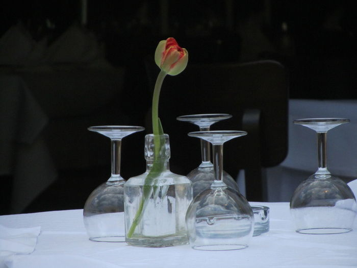 View of wine glasses on dining table