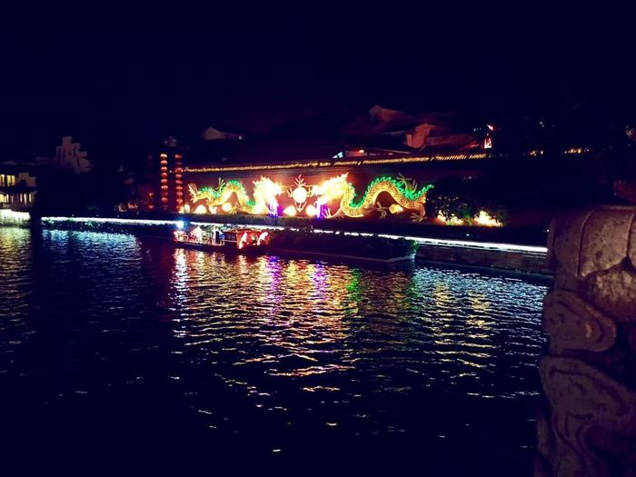 Nanking Water Night River Illuminated Bridge - Man Made Structure Outdoors Built Structure Large Group Of People Real People Sky People
