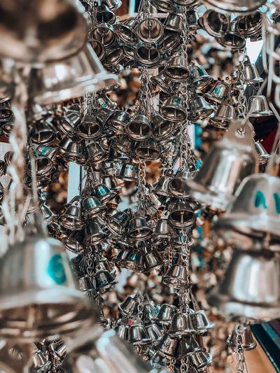 Full frame shot of bells hanging for sale