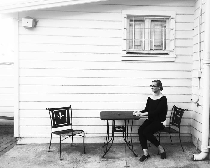 Waiting Sitting Chair One Person Adult Only Women One Woman Only Real People Blackandwhite Outdoors California Shootermag Fine Art Photography Bw_collection EyeEm Best Shots Portrait