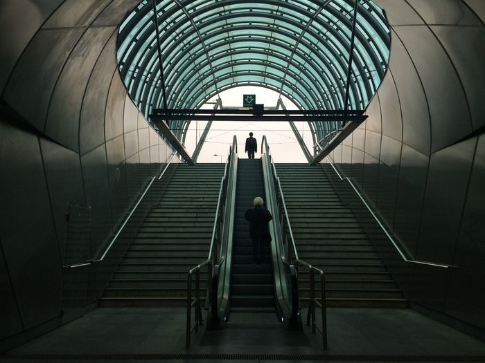 Low Angle View Of Stairs And Escalators