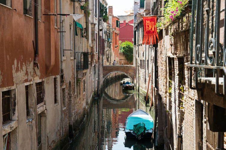 beautiful view in Venice Architecture Reflection Travel View Boats Bridge Day Famous Place Italy Old Buildings Old City One Person Tourism Vacation Venice Water