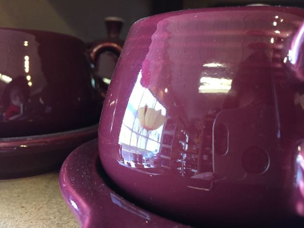 Housewares purple Container Ceramics Close-up Container Crockery Focus On Foreground Food And Drink Housewares Indoors  No People Purple Reflection Retro Styled Still Life Teapot Window Reflections