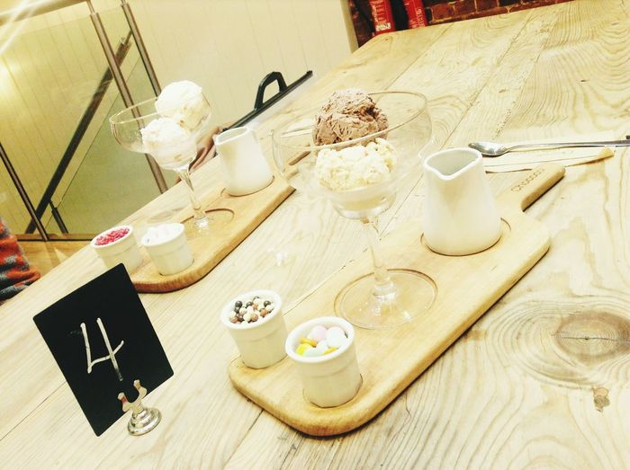 Four Ice Cream Citry Caffè Relax Chilled Exam Break Glass Food Cold Ice Hot Sauce Table Table Number Wood Spoon Chococo Chocolate Smarties Marshmallow Table High Angle View Close-up Teapot Saucer Prepared Food Served