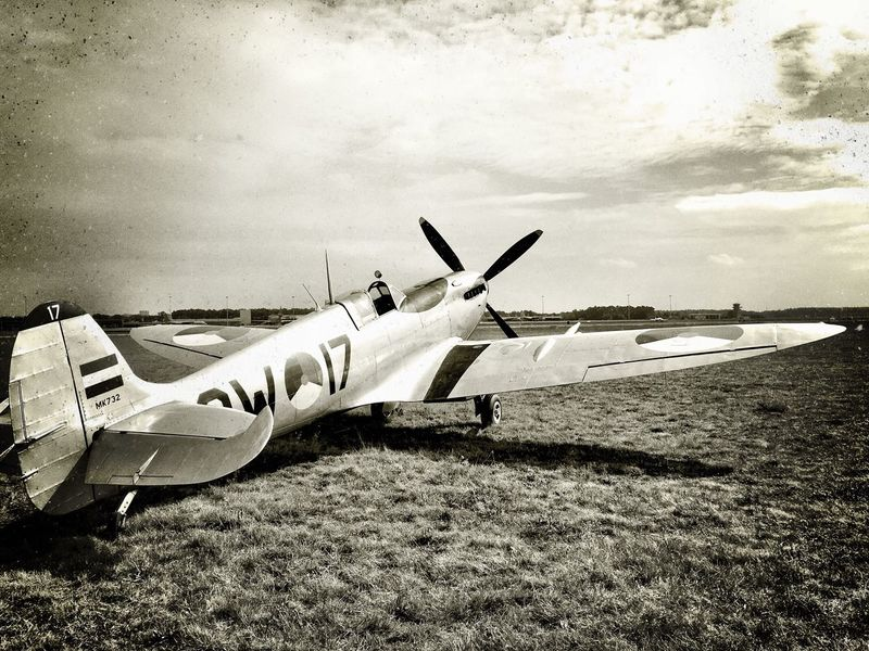 Spitfire Sky Transportation Mode Of Transport Cloud Travel Air Vehicle Flying Day Outdoors Tranquility Airways Airport Runway Cloud - Sky Flight Solitude Escapism Journey Young Adult Black And White Ww2warbirds Ww2 First Eyeem Photo