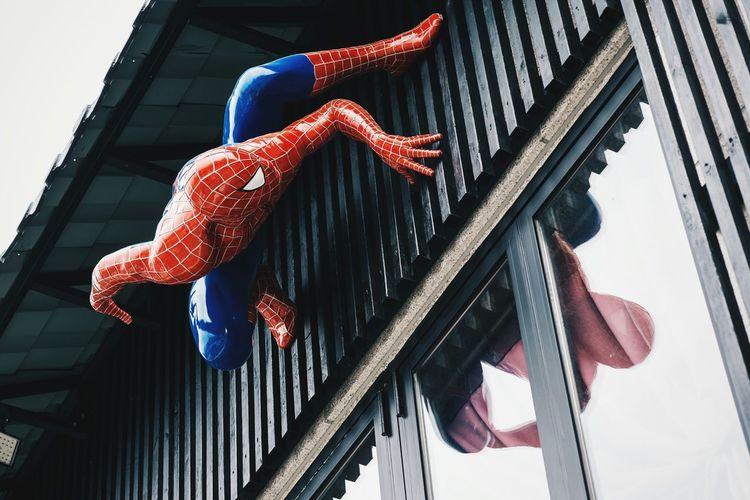 Spiderman Hongdae Building Exterior Building Cartoon Marvel spiderman hanging off the restaurant building in hongdae