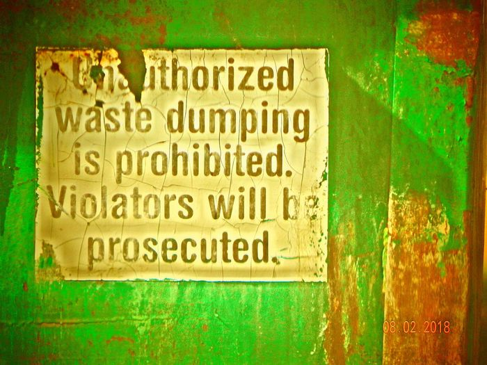 Dumpster Trash Sign TIME OUT MARKET Communication Text Textured  Close-up Green Color Information Sign