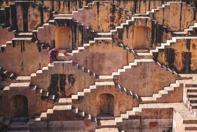 Step well in Jaipur Full Frame Backgrounds No People Day Outdoors Architecture Connected By Travel Full Length Travel Destinations Vacations Travel Adventure Photography Step Well Jaipurdiaries Jaipur Rajasthan Incredible India Pattern, Texture, Shape And Form Stairs Workinng Hard Structures Heritage Site EyeEmNewHere