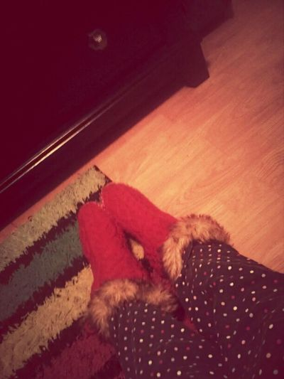 My red bedroom slippers my toes were cold
