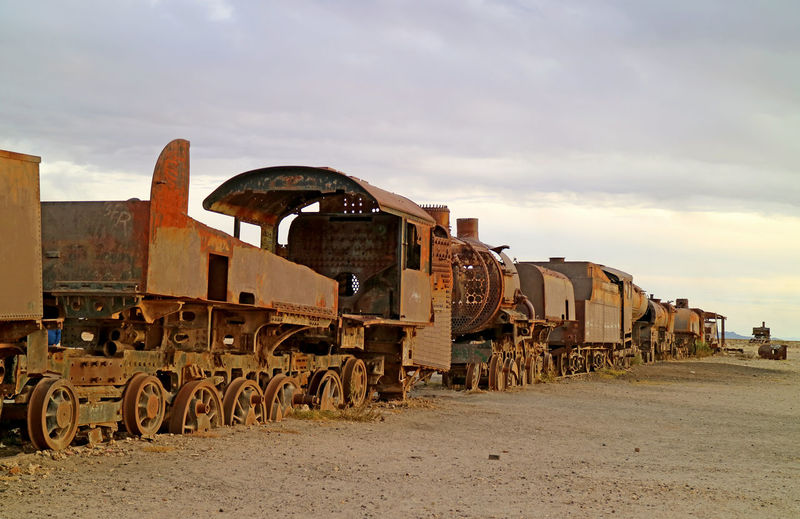 Panoramic view of old train against sky