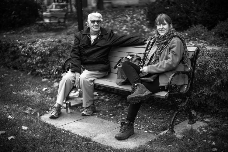 Black & White Man Woman Adult Day Documentary Full Length Leaves Nature Outdoors People Portrait Real People Senior Adult Senior Men Sitting Smiling Streetphotography Togetherness Two People Bnw_collection