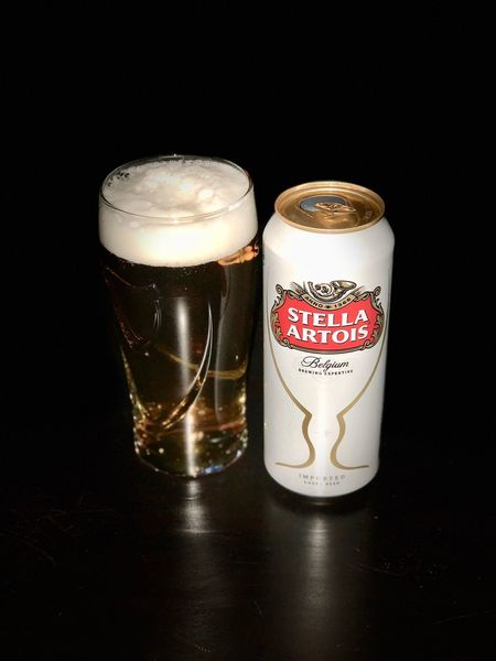 Date night Beer Stella Table Refreshment Black Background