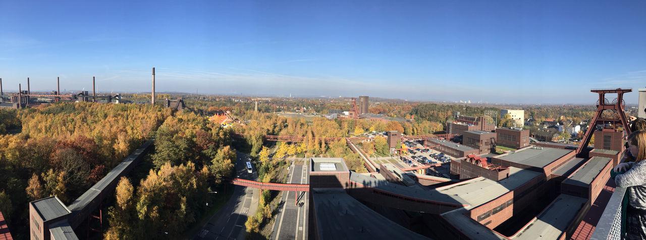 Zollverein Coal Mine Industrial Complex Against Clear Blue Sky