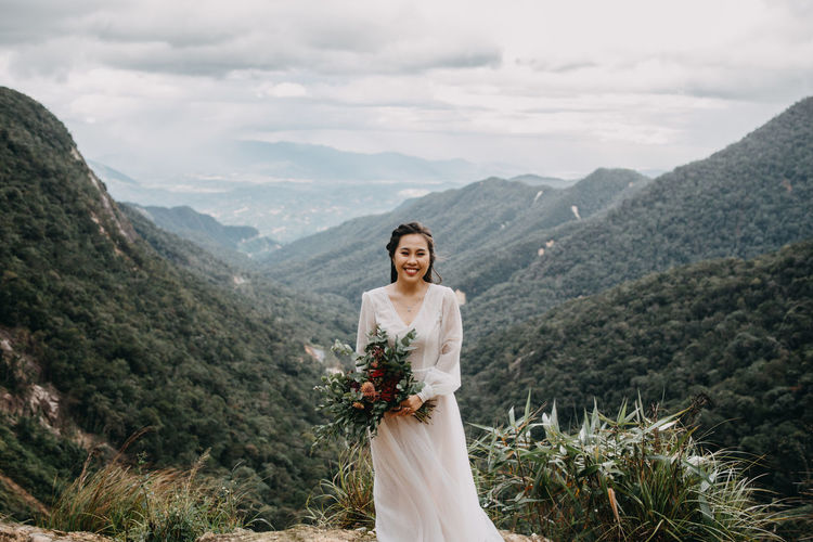 My love International Women's Day 2019 Mountain Smiling Happiness Beauty In Nature Beautiful Woman Nature Wedding Dress Cloud - Sky