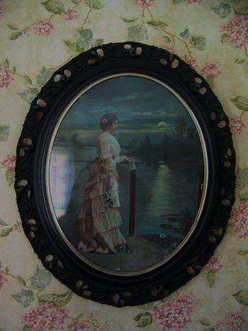 Scotland Hotel Museum in Scotland, Indiana 1800s Antique Art Beautiful Casual Clothing Day Dress Flowers On The Wall Frame Historic Clothing History Lady Leisure Activity Lifestyles Picture Pink Scotland Hotel Museum Scotland, Indiana Small Town USA Wall Hanging Wallpaper Water
