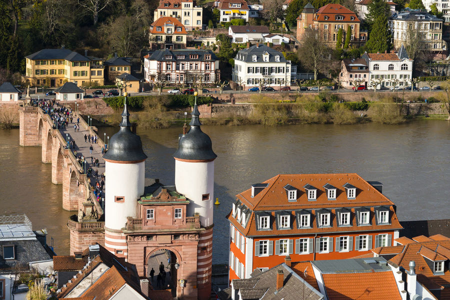 Aerial View Alte Brücke Alte Brücke Heidelberg Architecture Building Exterior Built Structure City City Life Cityscape Day Dome Heidelberg Heidelberg Castle High Angle View House No People Outdoors Place Of Worship Residential Building Roof Sky Tourism Tower Travel Destinations Urban Skyline
