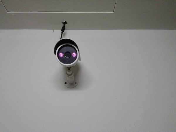 closed circuit camera home safety equipment CCTV blue tone color CCTV Security Cctv Cctv Camera Closed Circuit Camera Control Copy Space Hanging Indoors  No People Protection Safety Security Single Object Technology