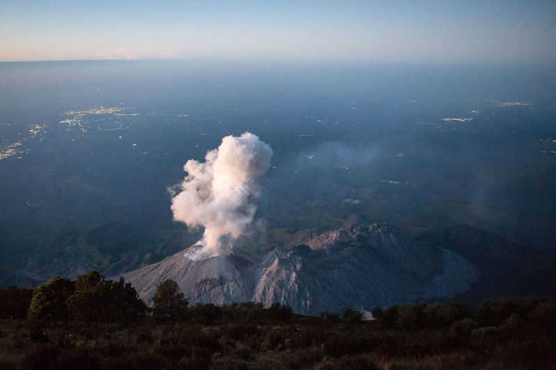 High Angle View Of Santa Maria Volcano