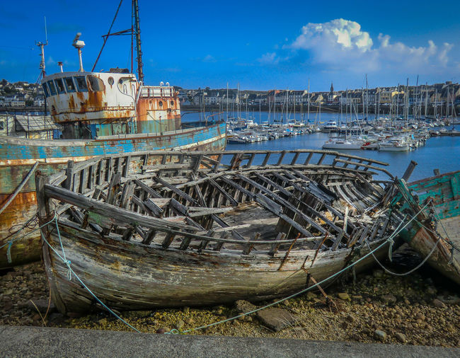Somewhere in the charming Bretagne! Abandoned Beach Clear Sky Day Fishing Boat Harbor Mode Of Transport Moored Nautical Vessel No People Outdoors Sea Sky Sunlight Tranquility Transportation Water