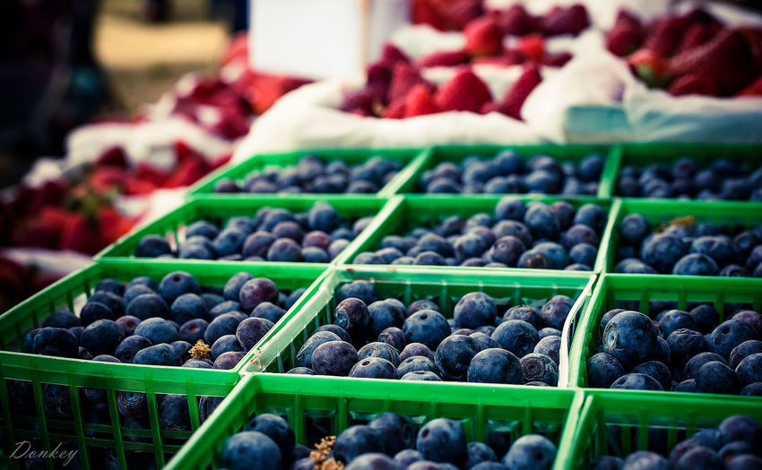 Blueberries for sale at market stall