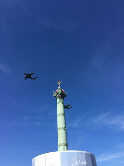 Two birds with one stone 14 Juillet 2017 Bastille Day Blue Sky Clear Sky Flying High No People Outdoor Photography Planes
