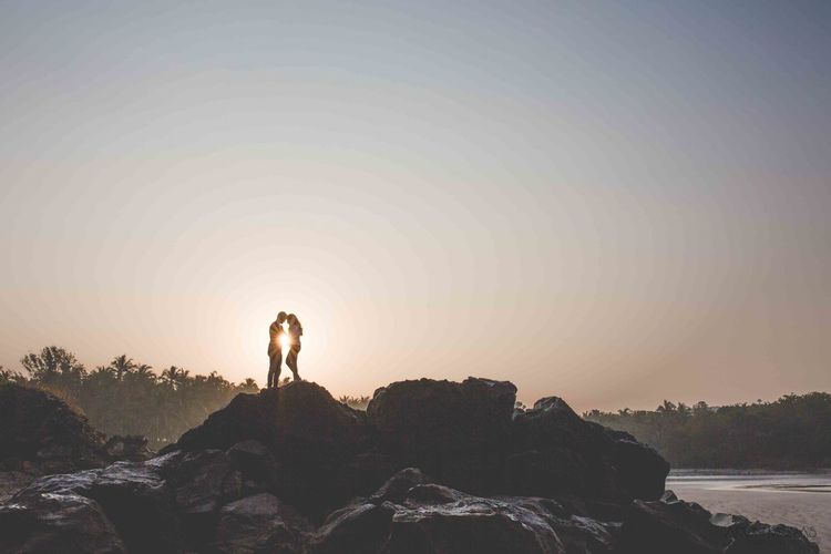 Early morning captures Silhouette Sunrise People Outdoors Nature Beach Love