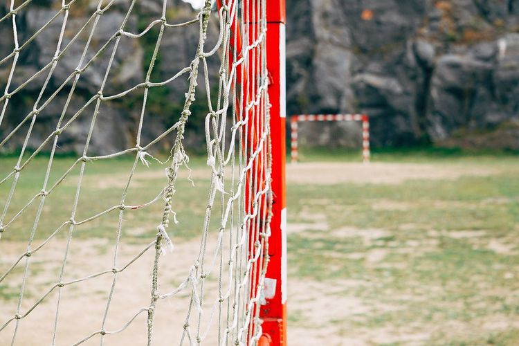 Close-up of soccer net