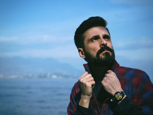 Lookin' up. Adult Adults Only Beard Bearded Day Hands Lake Macho Man Mid Adult Mid Adult Men One Man Only One Person Only Men Outdoors People Portrait Shore Sky Sky And Clouds Watch Water