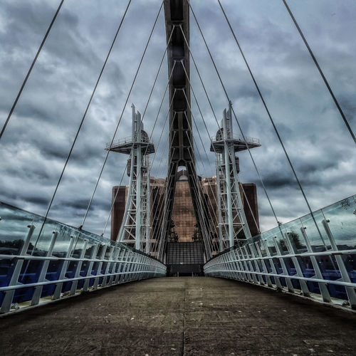 The Millennium Bridge also known as The Lowry footbridge across the Manchester ship canal near The Lowry centre Manchester Lowry Bridge Lowery Millennium Bridge Manchester Ship Canal Bridge Photography Bridge - Man Made Structure Artchitecture Man-made Structure Close Up Photography Hdr_captures Fine Art Photography EyeEm Best Shots - HDR Fujifilm Malephotographerofthemonth Creative Light And Shadow Color Photography No People Showcase July 2016 Manchester Masterclass Canals And Waterways Documentary Photography