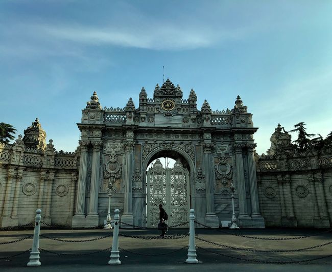 Besiktas Dolmabahce Palace Dolmabahçe Sarayı Istanbul Architecture Built Structure Sky Travel Destinations Arch Travel Building Exterior City History Tourism The Past Nature Day Cloud - Sky Gate No People Building Outdoors Entrance Triumphal Arch