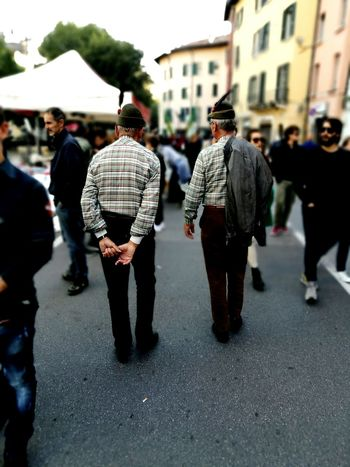 Lifestyles Person Men Leisure Activity Casual Clothing Full Length Walking Rear View City Life Selective Focus Group Of People City Street Day Outdoors Street Artist Brescia, Italy Italia Italy Brescia Focus On Foreground Alpini