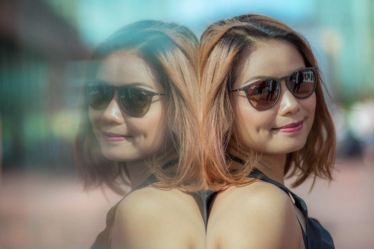 Asain Girl Beautiful People Beauty Confidence  Dimples  Femininity Glasses Headshot Portrait Smiling Sun Glasses Toothy Smile Young Adult Young Women