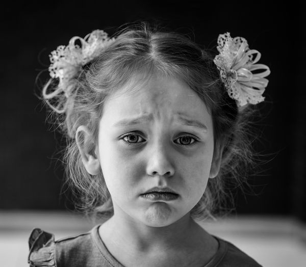 Close-up portrait of sad girl crying
