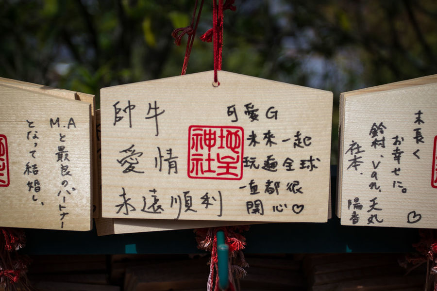 Buddhism Close-up Closeup Communication Defocused Background EMA Focus On Foreground Hiragana Hobbies Japan Japanese Text Memories Message Note Pray Prayer Relict Religion Shinto Shinto Shrine Shintoism Signboard Tablet Text Wood