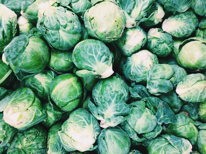 Full frame shot of brussels sprouts for sale in market