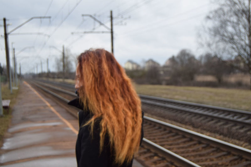 Day Hairstyle Latvia Nature One Person Orange Hairs Outdoors Railroad Rails Sky Tree Woman Young Adult