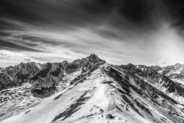 Swinica mountain in black and white, view from Kasprowy Wierch in Tatra Mountains, Poland Adventure Altitude Beauty In Nature Cloud - Sky Extreme HDR Hiking Journey Outdoors Peak Travel Winter The Great Outdoors - 2017 EyeEm Awards