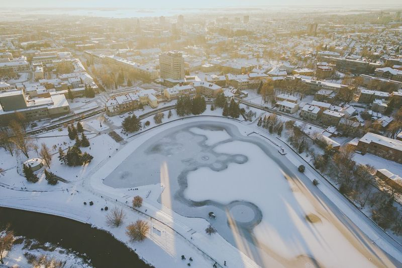 Winter in Panevėžys, Lithuania | High Angle View Aerial View Architecture Built Structure Cold Temperature Road Winter City Nature Building Exterior Outdoors Snow No People Landscape Day Water Beauty In Nature Snow Covered Drone  Birds Eye View Lietuva Baltic Countries Phantom 3 Advanced Aerial Photography Frozen