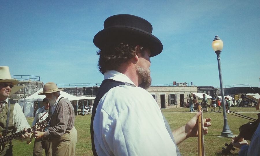When you're randomly assailed with Minstrels in Period Clothing Playing Instruments and wearing Top Hats! Civil War Re-enactments at Fort Gaines on Dauphin Island May 2016 My Vacation Mandolin.