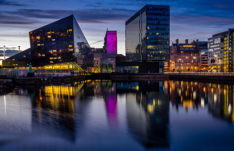 The glass Equator House reflects in the calm evening waters of Canning Dock, Liverpool. Blue Hour Liverpool Waterfront Liverpool, England Architecture Buildings City Merseyside No People Outdoors Reflections In The Water River Sky Summer Sunset Water Waterfront