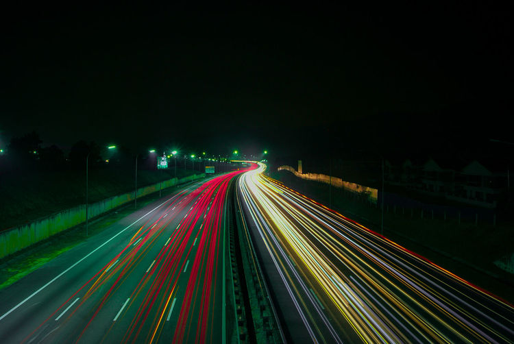 City Illuminated Motion Road Multi Colored Long Exposure Speed Light Trail City Life Street