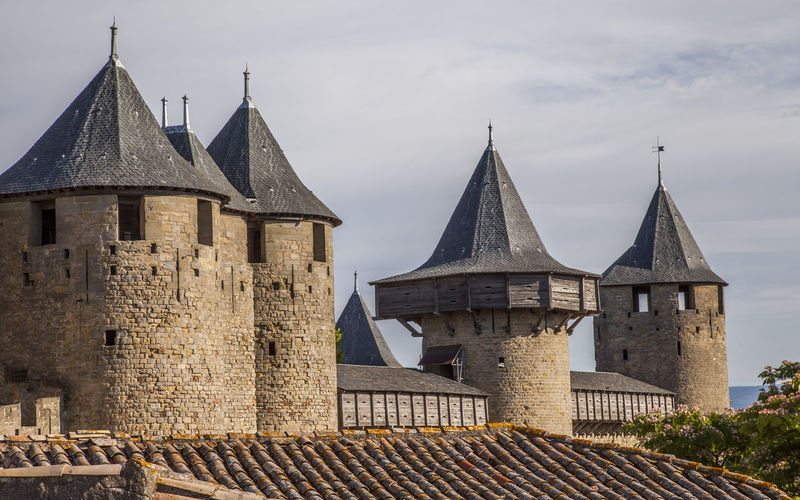 Castle turrets, Carcasonne, France Architecture Building Exterior Built Structure Carcassonne Castle Castle Tower Day France History No People Outdoors Roof Roofed Turrets Travel Destination Turrets