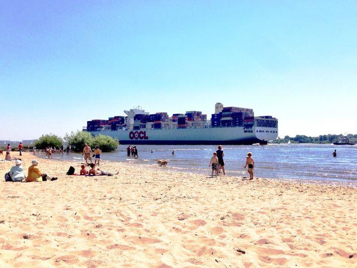 Beach Hamburg Enjoying The Sun Ship