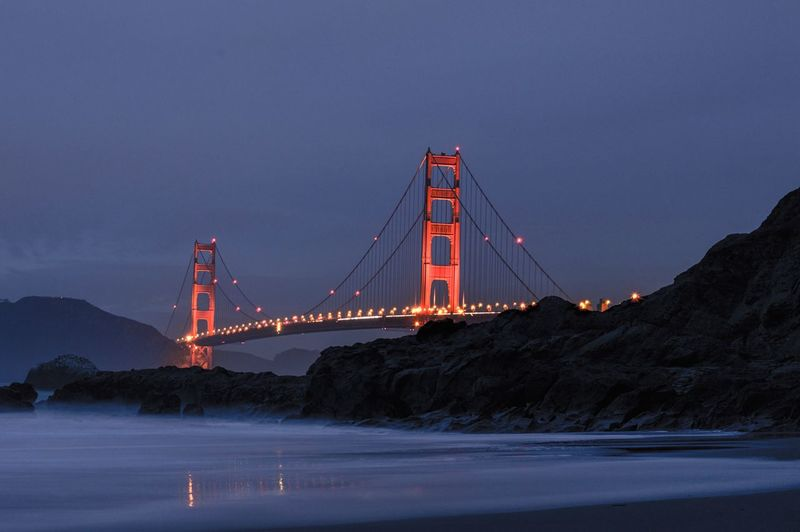 Golden Gate Bridge Golden Gate San Francisco Bridge - Man Made Structure Suspension Bridge Architecture Famous Place International Landmark Travel Destinations Water Bay Of Water Night Illuminated Red Tourism Built Structure Sky