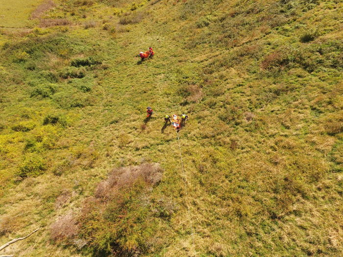 Technical (Rope) rescue of a casualty up a steep hillside during a Surrey Search and Rescue training exercise Hillside Paramedics Emergency Services Lowland Rescue Surrey Rope Stretcher Technical Rescue Dronephotography Rescue