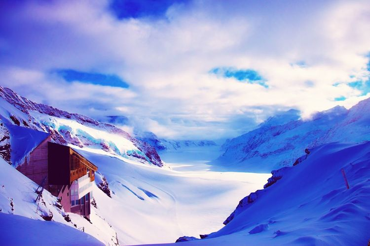 Snow Covered Landscape And Mountain