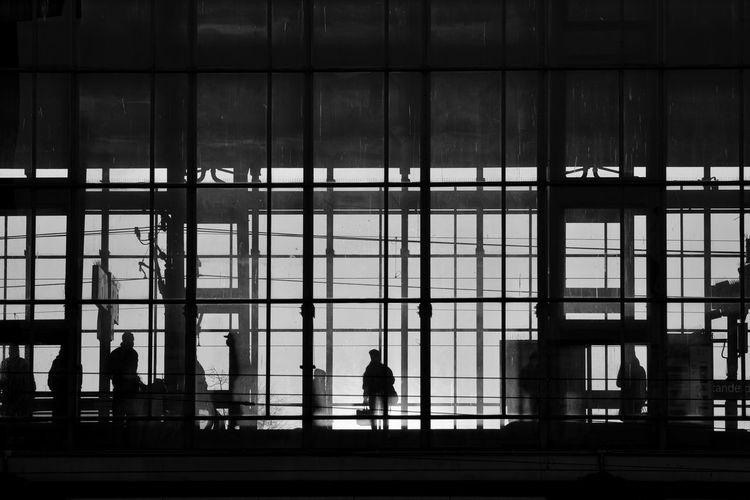 Rear view of silhouette man walking in modern building