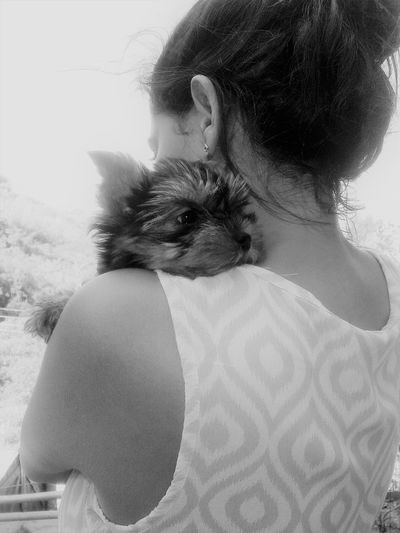 Blackandwhite Photography Eyeem Market Hugging A Puppy My Dog From My Back My Little Pet ♥ Portrait Pet Photography Puppy On My Shoulders Pet Portraits Woman Carrying A Pet Yorkshire´s Hug